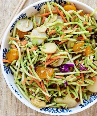 Chinese Slaw in bowl shot overhead