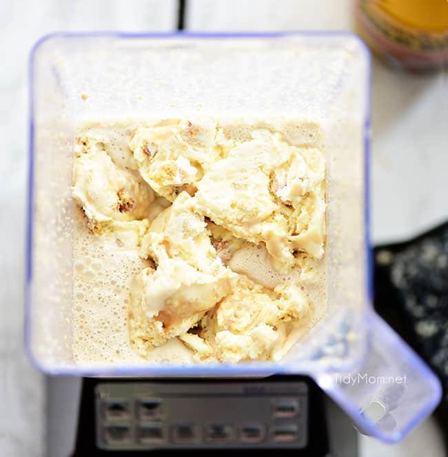 Gooey Butter Cake Cold Brew Milkshake in blender overhead shot