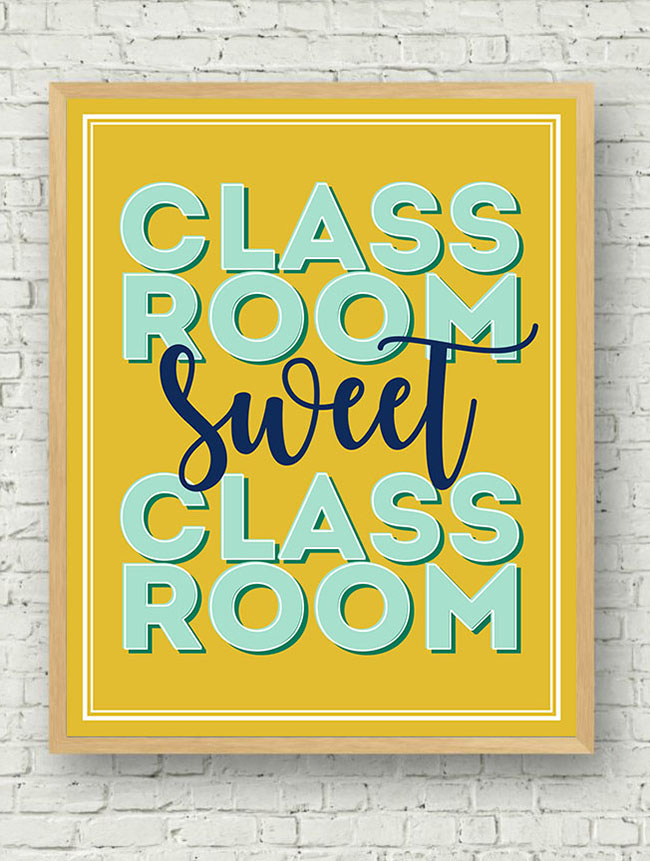 CLASSROOM SWEET CLASSROOM PRINTABLE by Eighteen25 — Find crafts, printables, recipes and more for a Back to School Meal Plan at TidyMom.net