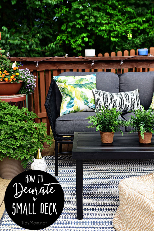 Learn How to maximize outdoor space and how to decorate a small deck or patio. Choose plants that help keep mosquitos and other pests away. Get all the details at TidyMom.net
