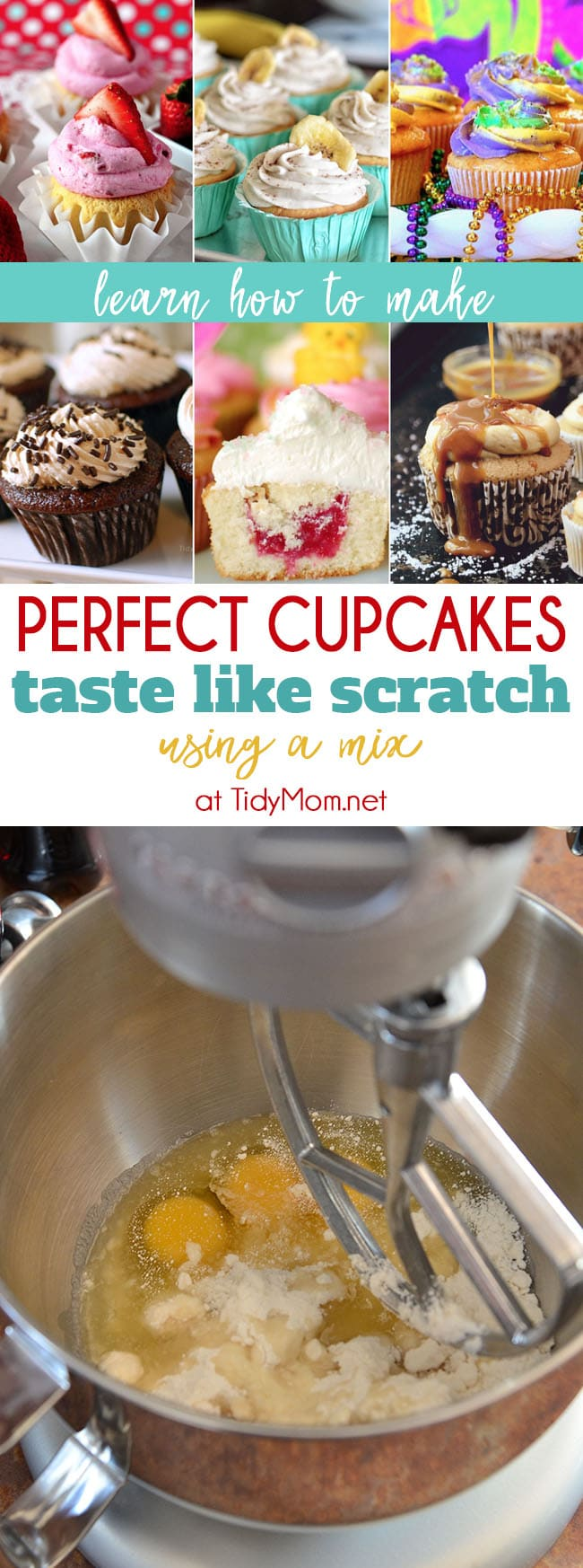 Perfect Cupcake Recipe using a box mix is my all time favorite, go to recipe for cupcakes. You can use this trick to make a box cake mix make cupcakes and cake taste like they are made from scratch. Learn more at TidyMom.net #cupcakes #cake #homemade #kitchentips