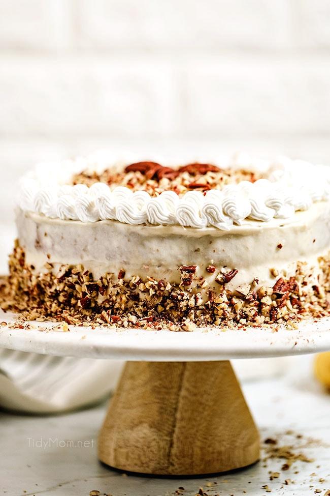 banana cake on a cake plate