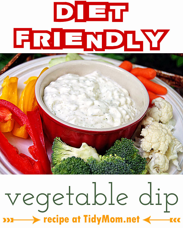 Diet Friendly Vegetable Dip recipe at TidyMom.net