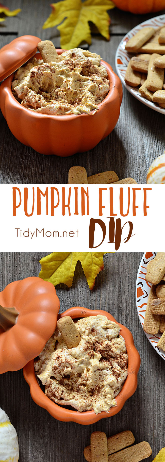 Pumpkin Fluff is a creamy, fluffy favorite fall treat. Serve with graham crackers or stuff into a cannoli shell or just dig in with a spoon. It's full of fiber, and if you use sugar-free/ fat-free pudding mix, Cool Whip Lite and 1% milk it's a low cal treat you don't have to feel guilty eating! Pumpkin Fluff Dip Recipe and video at TidyMom.net #pumpkin #dip