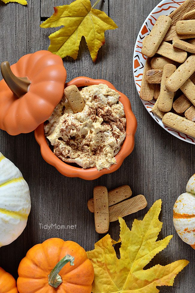 Pumpkin Fluff is a creamy, fluffy favorite fall treat. Serve with graham crackers or stuff into a cannoli shell or just dig in with a spoon. It's full of fiber, and if you use sugar free/fat free pudding mix, Cool Whip Lite and 1% milk it's a low cal treat you don't have to feel guilty eating! Pumpkin Fluff Dip Recipe and video at TidyMom.net