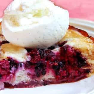 Easy Homemade Blackberry Cobbler with Ice Cream recipe at TidyMom.net