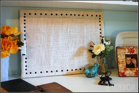 diy burlap board at TidyMom,net