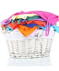 clothes in wooden basket