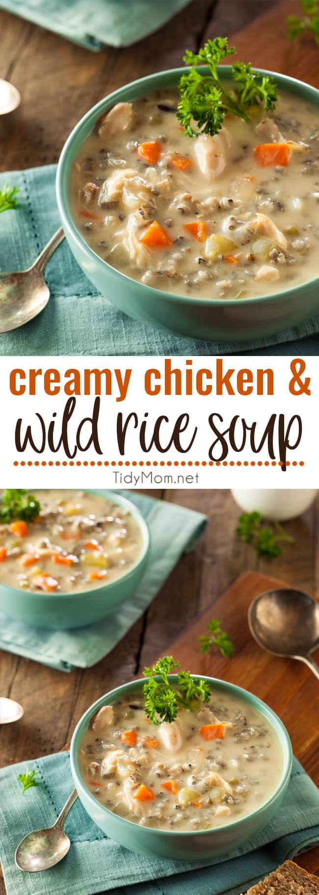 This Panera Copycat Creamy Chicken and Wild Rice Soup continues to be a family favorite. It's delicious and hearty, perfect for cold winter nights. Printable recipe + video at TidyMom.net #soup #wildrice #copycatrecipe #chicken #chickenrecipe
