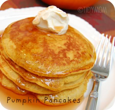 pumpkin pancakes recipe at TidyMom.net