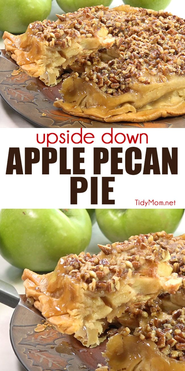 UPSIDE-DOWN APPLE PECAN PIE is a self-glazing, award winning pie that is sure to please any crowd. If you like pecan pie and apple pie, you're going to want this apple pie recipe!  Printable recipe + video at TidyMom.net #pie #thanksgiving #applepie #pecanpie #pies #video #dessert #apple #pecan
