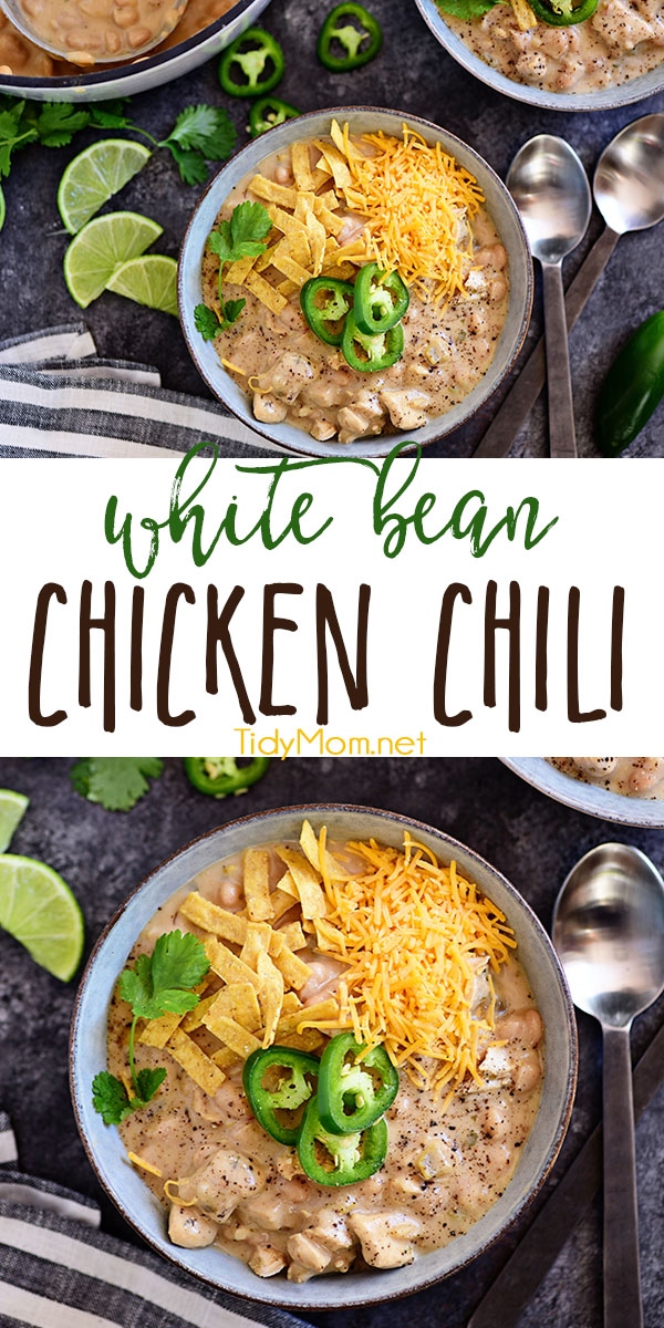 This family favorite white chili recipe is made with white chili beans, chicken, peppers, and lots of spices. It's a hearty one pot meal that you can have on the table in under an hour, and it's even better the next day! Print the full recipe for White Bean Chicken Chili at TidyMom.net