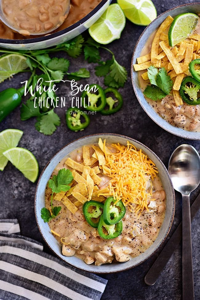 White Bean Chicken Chili: This family favorite white chili recipe is made with white chili beans, chicken, peppers, and lots of spices. It's a hearty one pot meal that you can have on the table in under an hour, and it's even better the next day! Print the full recipe for white chili at TidyMom.net