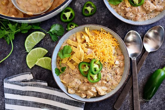 White Bean Chicken Chili: This family favorite white chili recipe is made with white chili beans, chicken, peppers, and lots of spices. It's a hearty one pot meal that you can have on the table in under an hour, and it's even better the next day!