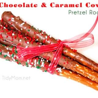 Chocolate & Caramel Covered Pretzel Rods