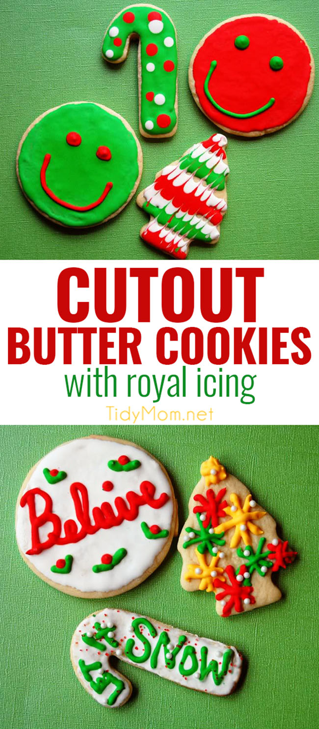 This Butter Cookie is the best recipe for cutout cookies and decorating with royal icing.  Butter cookies are softer than a sugar cookie, but not as soft and crumbly as shortbread, making them the perfect cookie for decorating for the holidays! Between its ability to hold its shape, bake beautifully, and its delicious flavor, this butter cookie recipe has been a favorite in our family for decades. PRINT the RECIPE at TidyMom.net #christmascookies #santa #cookiedecorating #royalicing #sugarcookies