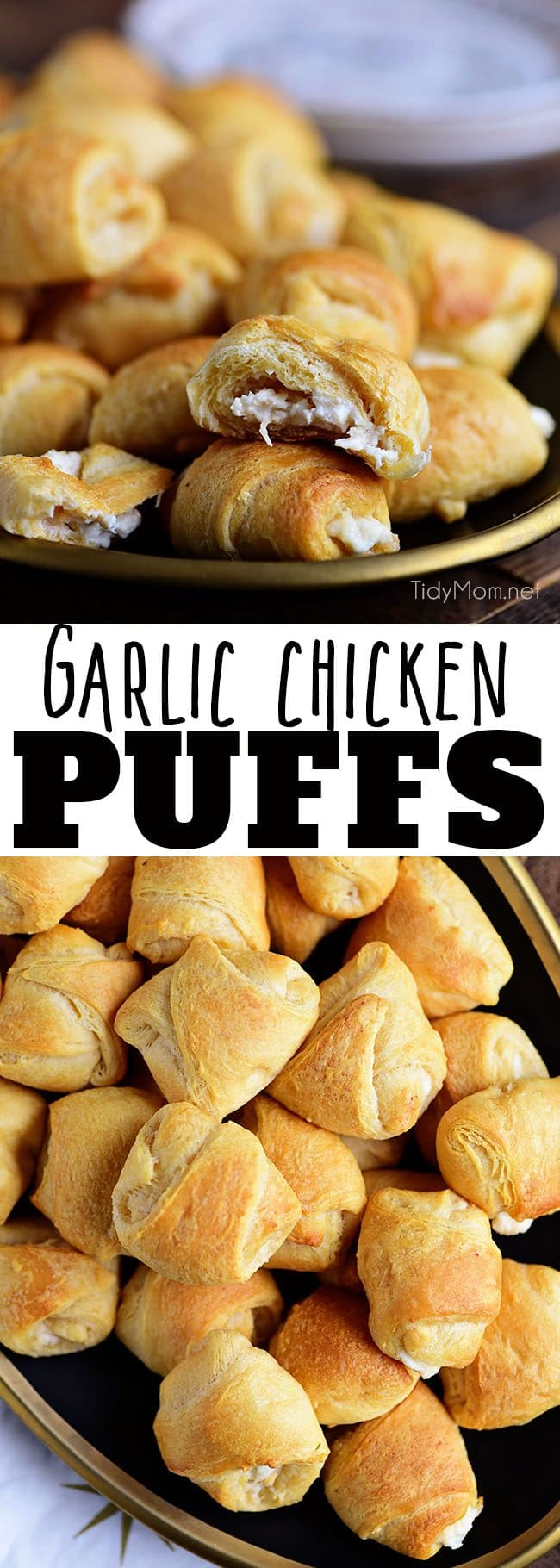 Garlic Chicken Puffs have a rich creamy garlic chicken mixture inside a croissant and baked to form a yummy appetizer. This finger food is a big crowd pleaser and great for gatherings! Print recipe at TidyMom.net