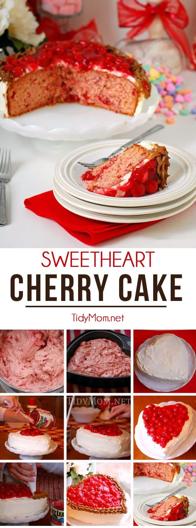 Sweetheart Cherry Cake perfect for Valentines Day. Heart shaped cake recipe at TidyMom.net