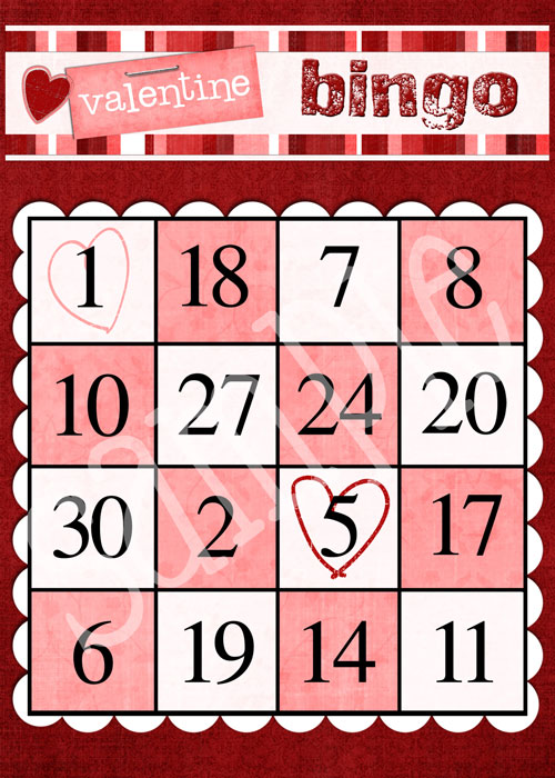 Valentine Bingo Card printable