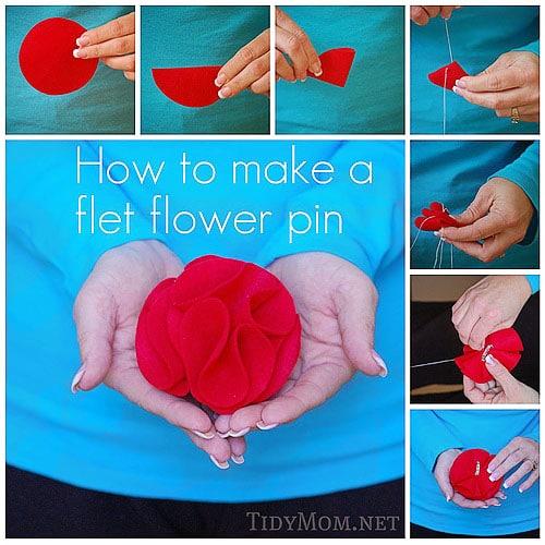 How to Make: Felt Rosette Flower Pin