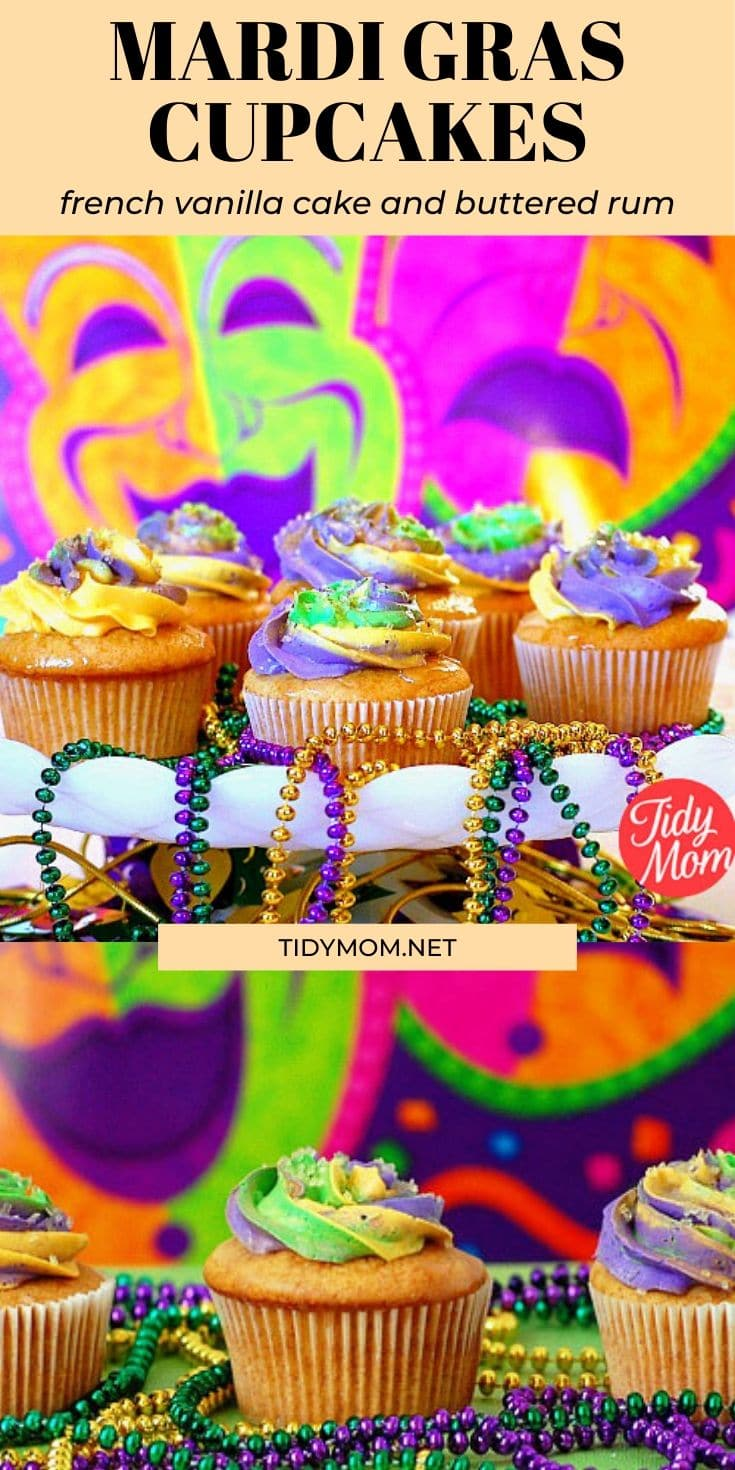 The King Cake might be the traditional sweet on Mardi Gras, but these fun cupcakes are decorated with traditional Mardi Gras colors: purple represents justice, green represents faith and gold represents power. French Vanilla Butter Rum Mardi Gras Cupcakes recipe at TidyMom.net #cupcakes #mardigras