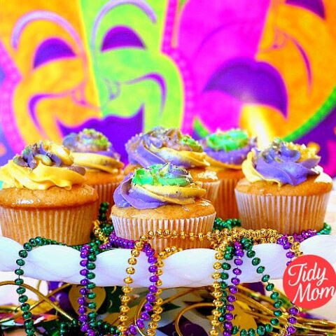 Mardi Gras Cupcakes | French Vanilla Butter Rum