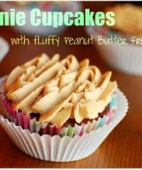 Brownie Cupcakes with Peanut Butter Frosting at TidyMom.net