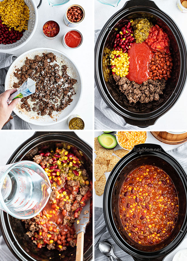 photo collage of steps to make taco soup in a slow cooker
