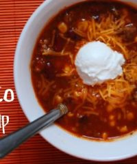 slow cooker taco soup in bowl image