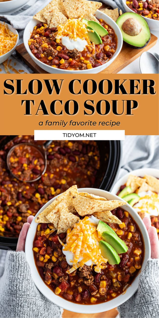 taco soup in a slow cooker and in a bowl