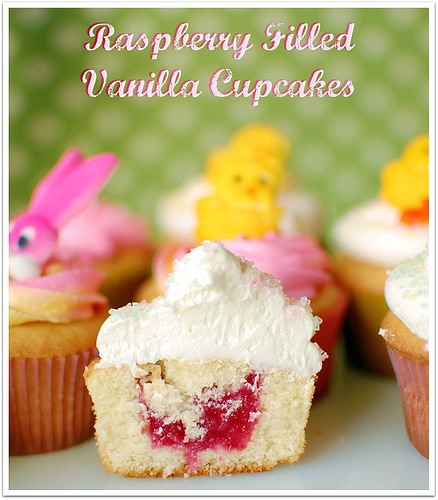 Raspberry Filled Cupcakes recipe at TidyMom.net