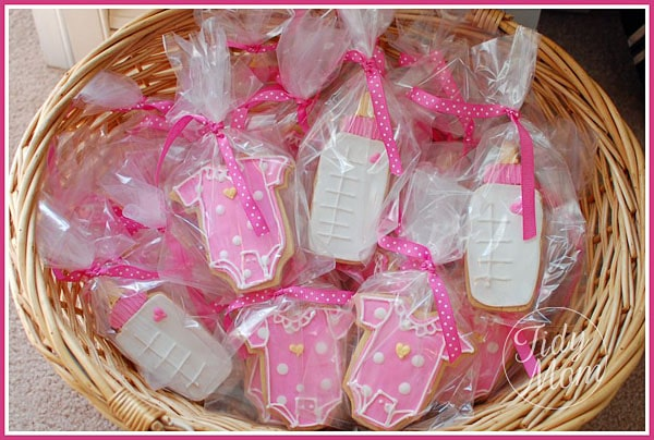 baby bottle and onsie cookies for baby shower at TidyMom.net