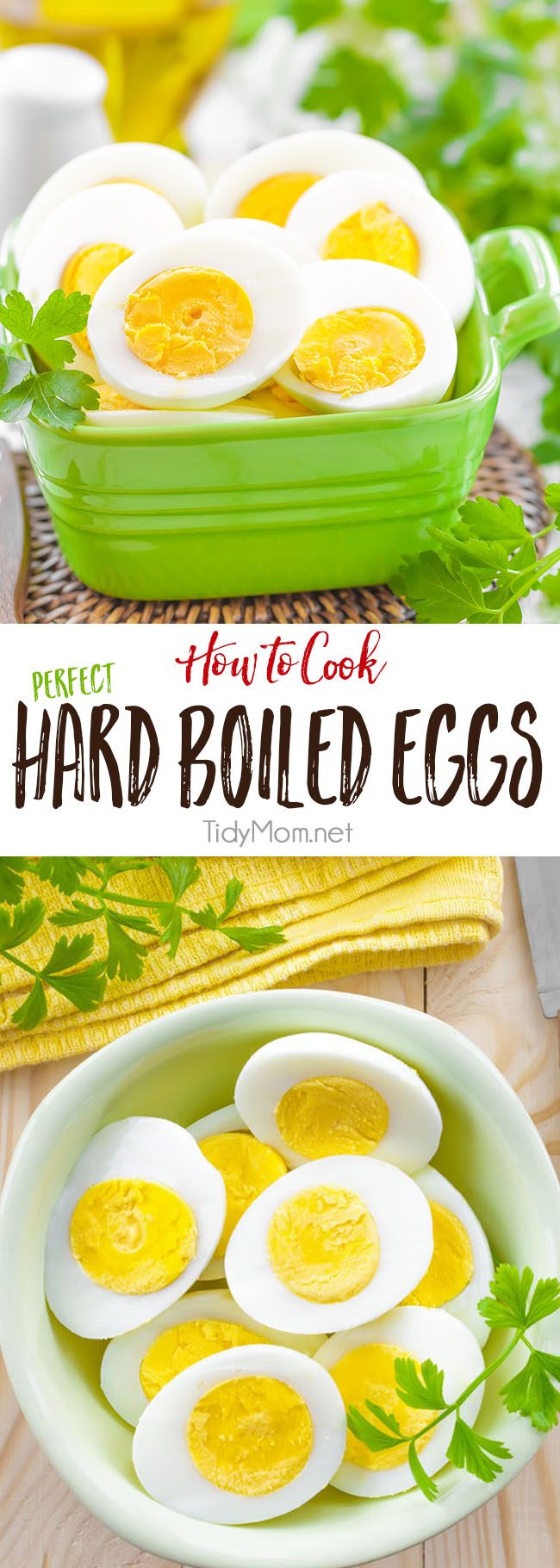 Learn how to cook PERFECT HARD BOILED EGGS every time. No more rubbery eggs or green ring!! Learn more at TidyMom.net #eggs #hardboiledeggs #easter #howto #kitchentips #easter #sidedish #appetizers