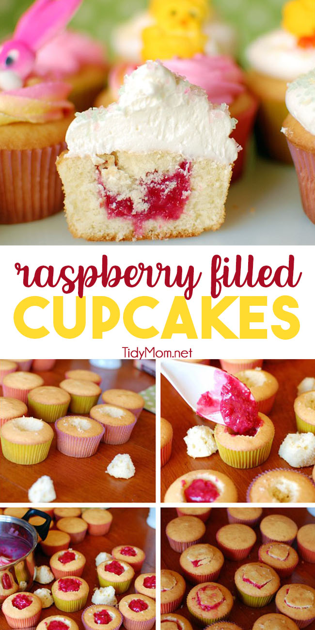 These Raspberry Filled Cupcakes are the perfect combo of vanilla and raspberry. Tender vanilla cupcakes are filled with a fresh raspberry filling, then topped with silky smooth vanilla buttercream. Perfect for any occasion! Print full recipe at TidyMom.net #cupcakes #buttercream #vanilla #raspberry