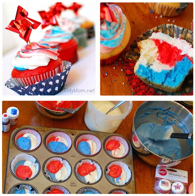 Red White and Blue Cupcakes at TidyMom.net