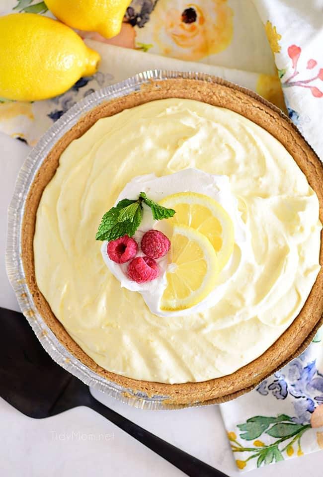 flat lay photo of a lemonade pie