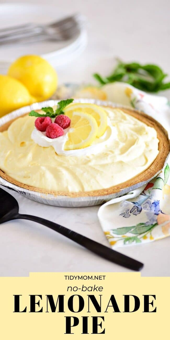 lemonade pie with lemon slices and fresh raspberries