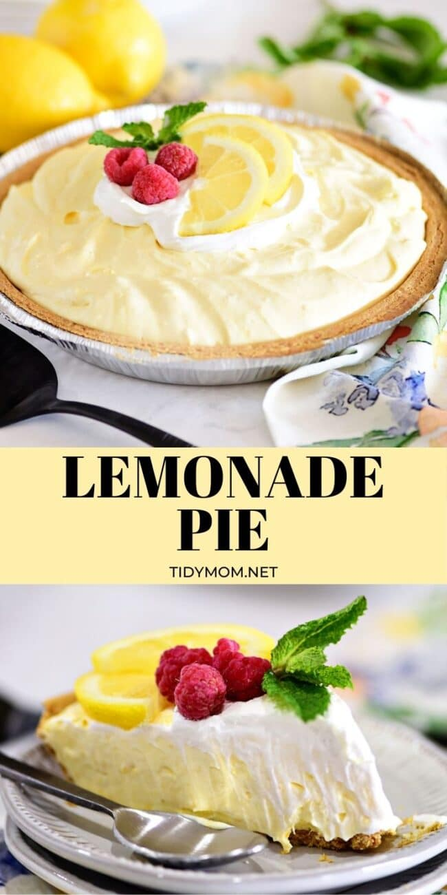 a lemonade pie and slice of pie photo collage