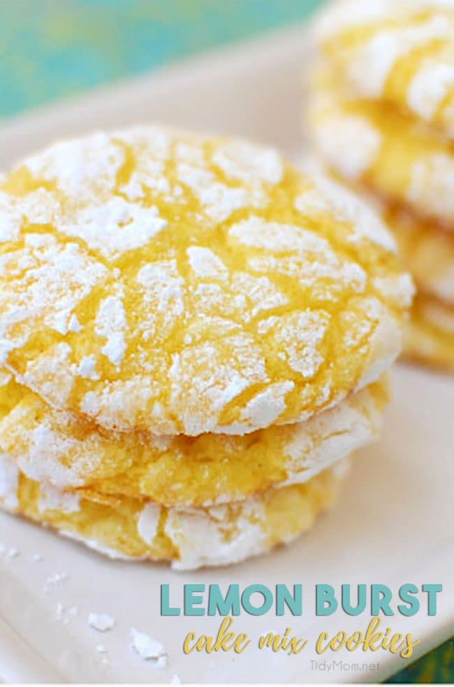 a stack of lemon burst cake mix cookies on a plate