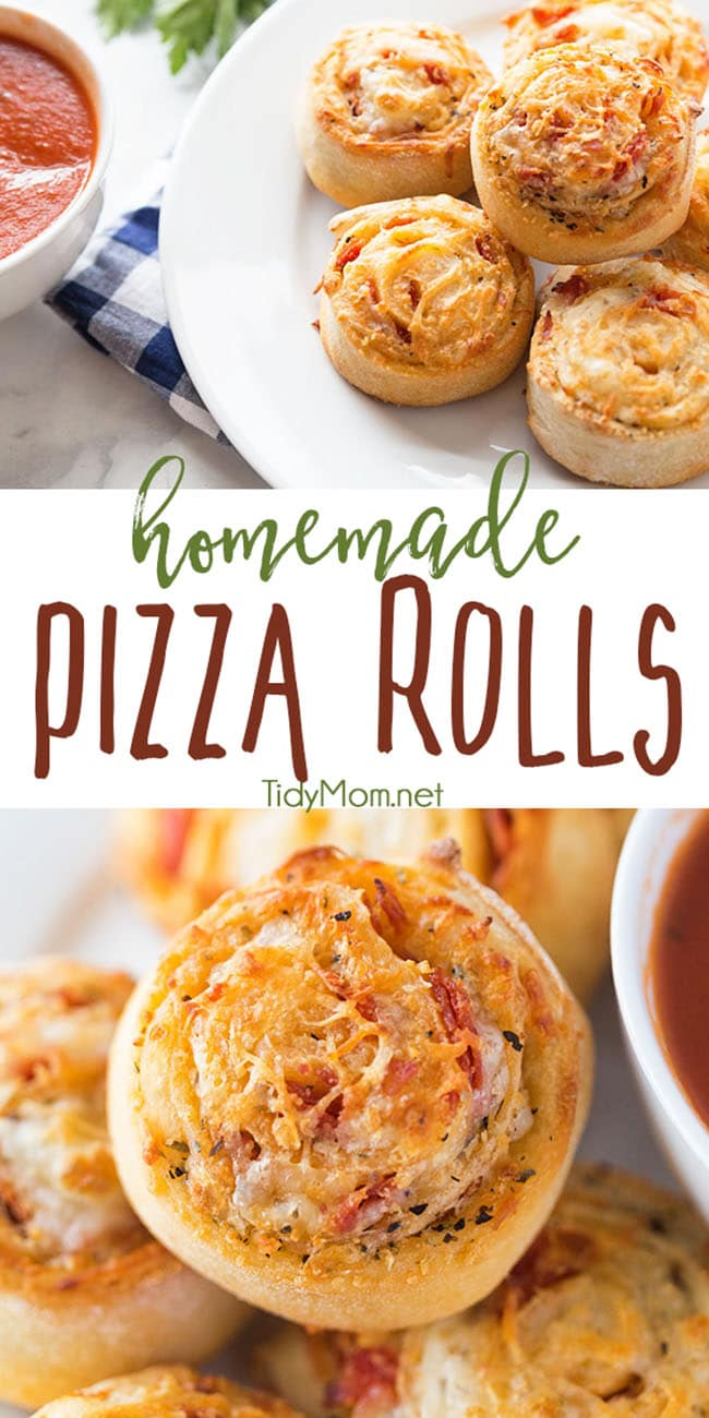 A family favorite! Homemade pizza rolls put a new spin on pizza night! Stuffed with cheese and pepperoni what's not to love about a pizza pinwheel?   Watch the recipe video and print recipe at TidyMom.net #pizza #homemade #dinner #recipe #video