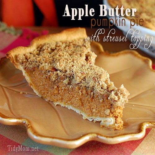 Apple Butter Pumpkin Pie with Streusel Topping at TidyMom.net