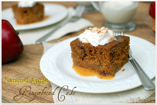 Caramel Apple Gingerbread Cake recipe at TidyMom.net