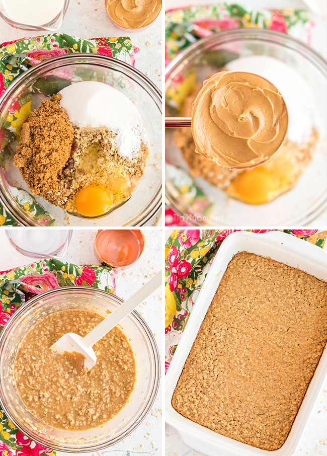 how to make peanut butter baked oatmeal photo collage