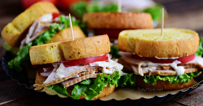 Turkey Caesar Sandwich. Easy homemade caesar dressing and garlic toast turns an ordinary cold-cut sandwich into something special. Perfect way to use up left-over Thanksgiving turkey or any day with deli sliced turkey!