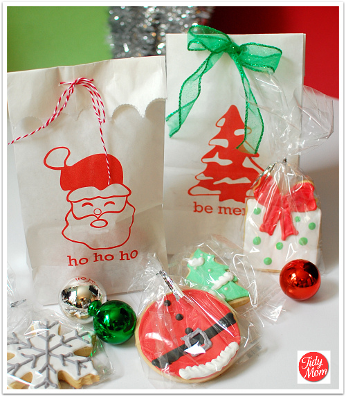 Free printable holiday bags for Christmas cookies to make for gifts