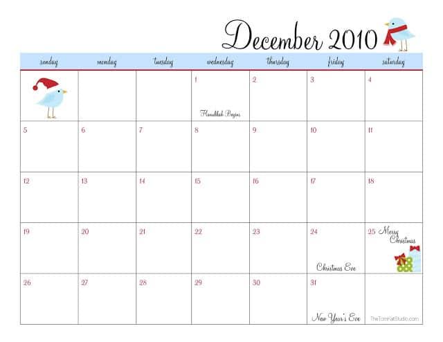 December 2010 Calendar - TomKat Studio image