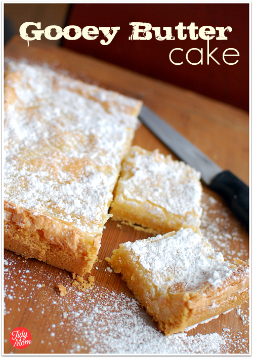St. Louis Gooey Butter Cake a/k/a Chess Squares, Neiman Marcus Brownies, Texas Gold & so on: These are my fave dessert bars ever. EVER! So yummy & easy to make (only a few ingredients) & everyone always gobbles them up & wants the recipe. Love these! Gooey Butter Cake recipe at TidyMom.net
