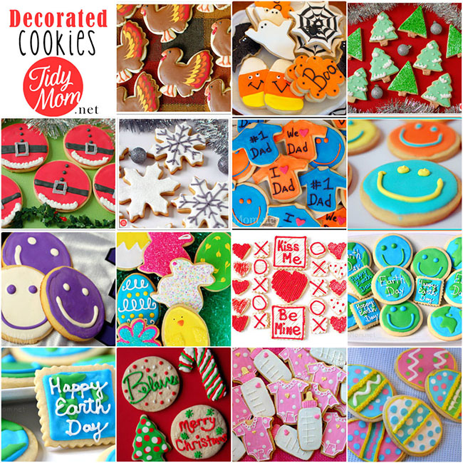 Decorated cut-out cookies, tips, tricks and recipes at TidyMom.net