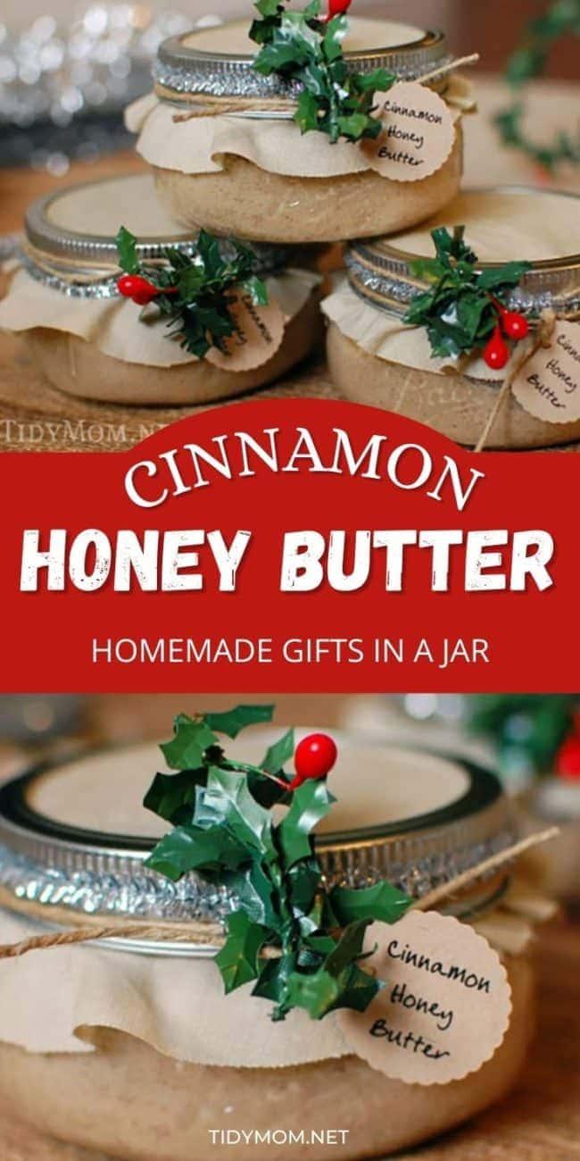 gift jars with homemade cinnamon honey butter