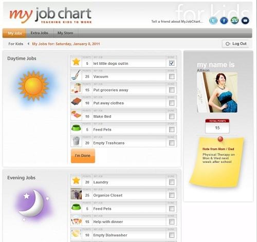 My Job Chart chores